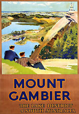 Art Ad The Lake District of South Australia Mount Gambier Travel   Poster Print