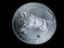 2016 $5 1 oz FINE SILVER COIN PREDATOR SERIES: COUGAR CANADA MAPLE LEAF BU