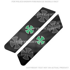 Saddlebag Decal Set For 96-07 Harley Police Model  - GREEN IRON CROSS - 155