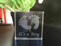 It's a Girl/Boy Baby Shower Gifts Engraved Personalised Message 20mm Acrylic