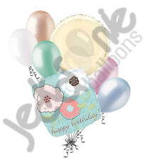 7 pc Beautiful Blue Happy Birthday Pink Flowers Balloon Bouquet Decoration Peach