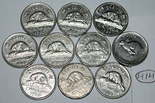 Canada 1960 1961 1962 1963 1964 1965 1966 1967 1968 1969 10 x 5 Cents Lot #414