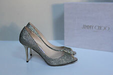 sz 7.5 / 37.5 Jimmy Choo Evelyn Lag Silver Glitter Open Toe Sandal Heel Shoes