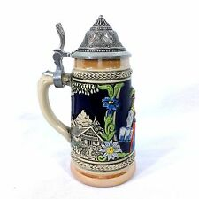 "German Beer Stein Lidded Gerz 3 West Germany 94% Zinn -- 6"" Tall"