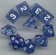 RPG Dice 10pc - Glitter Blue - 1 @ D4 D8 D10 D12 D20 D00-10 & 4 D6