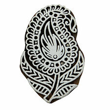 Indian Wooden Brown Stamps Decorative Paisley Textile Wood Printing Block Stamp