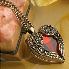 Red Rhinestone Vintage Women Peach Heart Wing Pendant Necklace Chain