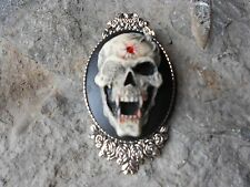SKULL WITH BULLET HOLE AND FANGS HAND PAINTED CAMEO BROOCH- PIN, GOTHIC, PUNK