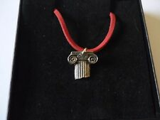 "w46 Roman Column Made From Fine English Pewter On a 18"" Red Cord Necklace"