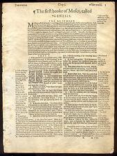 1605 Geneva Black Letter Bible Leaf/TITLE TO GENESIS/IN THE BEGINNING...!