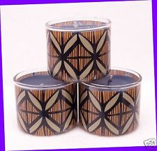 3 Bath & Body Works BLACK TEAKWOOD Scented Mini Candle 1.3 oz Small Travel
