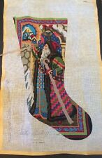 Peter Ashe Hand Painted Needlepoint Christmas Stocking Father 1983 With Fibers