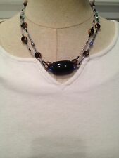 Handmade Neclace Black Glass Bead And Multi-colored Beads