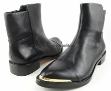 RACHEL ROY LANA Black Leather Womens Designer Gold Toe Plate Ankle Boots 6 $395