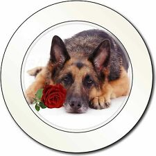 German Shepherd with Red Rose Car/Van Permit Holder/Tax Disc Gift, AD-GS1RT