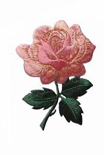 "#4535 3 1/4"" Pink Rose Flower Embroidery Iron On Applique Patch"
