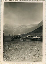 PHOTO ANCIENNE - VINTAGE SNAPSHOT - BUS CAR AUTOBUS AUTOCAR EXCURSION MONTAGNE