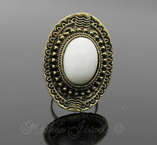 Lovely Large White Stone Antique Gold GP Womens Girls Dress Ring Adjustable Size