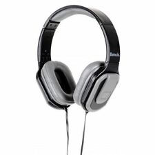 NEW BENCH BEAT ON EAR OVER HEAD HEADPHONES WITH MIC FOLDABLE BLACK/GREY