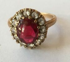 Antique Style Victorian Oval Cabochon Garnet and Spinel Ladies Ring