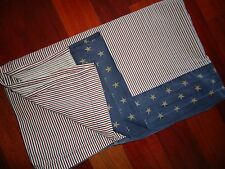 TOMMY HILFIGER BLUE RED STRIPES STARS QUEEN FLAT SHEET 100% COTTON BOYS 86 X 101