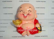 Feng Shui - Jolly Laughing Buddha Holding Ingot & Mala (Good Fortune)