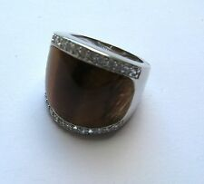 Cubic Zirconia and Tiger eye 925 Sterling Silver Ladies Ring Size M