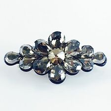 USA BARRETTE use Swarovski Crystal Hair Clip Hairpin Jeweled Elegant Gray 08