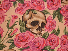 1YD Halloween RESTING IN ROSES SKULLS Skeleton A Henry De Leon PINK TEA Fabric