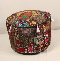 Black Round Ottoman~Pouf~Stool~Chair Moroccan Handmade Pouffe Poof INDIAN Decor