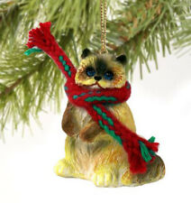 RAGDOLL CAT CHRISTMAS ORNAMENT HOLIDAY Figurine kitten gift scarf