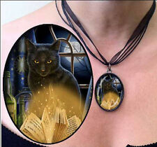 Black Cat On Spell Book Pendant Necklace 'Bewitched' Design by Lisa Parker