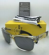 New VONZIPPER Sunglasses VZ ELMORE Crystal Clear & Black Frame w/ Grey Chrome