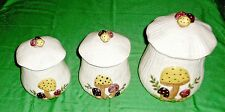 3 PIECE CERAMIC CANISTER SET MUSHROOMS