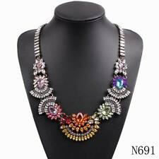 new design colorful crystal flower pendant chunky statement long chain necklace