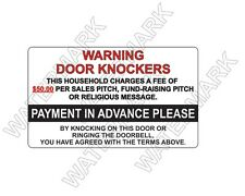 SOLICITING sign Warning Door Knockers Decal Sticker NO SOLICITING