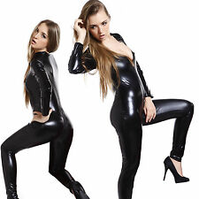 Ladies Black Shiny Wetlook PVC Catsuit Fancy Dress Catwoman Jumpsuit XL 14-20