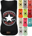 Ladies, Womens Converse Logo Print Sleeveless Racer Muscle T-shirt Vest Top 8-14