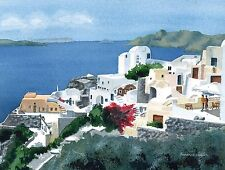 Buy landscape watercolor print overlooking Aegean sea from Santorini