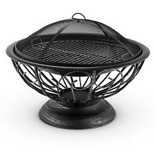 LARGE 60cm FIRE PIT BOWL BBQ GRATE HOME GARDEN PATIO HEATER WOOD CHARCOAL BURNER