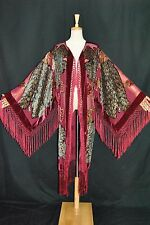 Hippie Peacock Duster Kimono Opera Coat Silk Burnout Velvet Burgundy Multi New