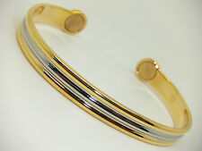 Mens Gold & Silver Colour Magnetic Bangle In Gift Pouch Arthritis Aid Pain