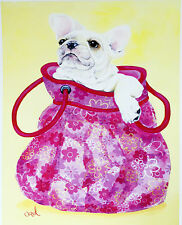 "FRENCH BULLDOG DOG FINE ART PRINT - ""Frenchie in Pink Purse"" Bouldogue Francais"