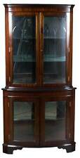 Antique Style Mirrored Interior Gothic Arch Double Door Corner Display Cabinet