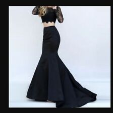 New �� Coast �� Size 10 Ericylla Black Fishtail Satin Maxi Prom Ball Skirt 38EU