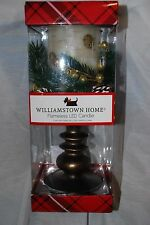 """WILLIAMSTOWN HOME CHRISTMAS FLAMELESS LED PEDESTAL CANDLE WHITE BIRCH 12"""" NEW"""