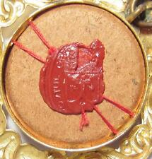 Antique 2nd CLASS RELIC Theca WAX SEAL Reliquary SAINT TERESA S. TERESIAE A J.LN