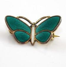 Vintage Aksel Holmsen Sterling Silver Green White Enamel Butterfly Pin Brooch
