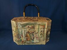Vintage Wooden Decoupage Box Purse Anton Pieck Colonial Print Lucite Handle