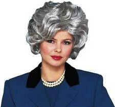 1950S 50'S ADULT WOMENS SILVER GREY SHORT WAVY CLASSY OLD LADY COSTUME WIG